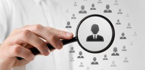 Human resources, CRM, data mining and social media concept - officer looking for employee represented by icon.